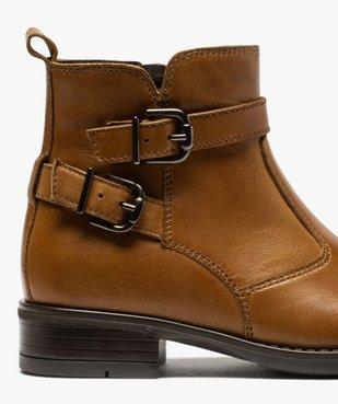 Boots fille unis dessus cuir à fermeture zippée vue6 - GEMO (ENFANT) - GEMO