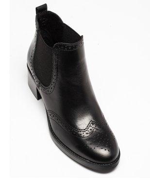 Boots femme à talon dessus cuir uni avec perforations vue5 - GEMO(URBAIN) - GEMO