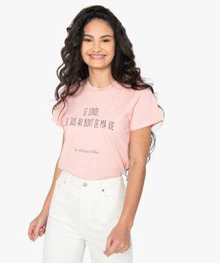 Tee-shirt femme à message fantaisie - GEMO x Les Vilaines filles vue2 - GEMO(FEMME PAP) - GEMO