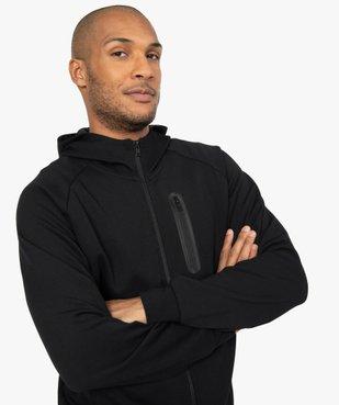 Sweat homme zippé à capuche et poches zippées vue2 - GEMO (HOMME) - GEMO
