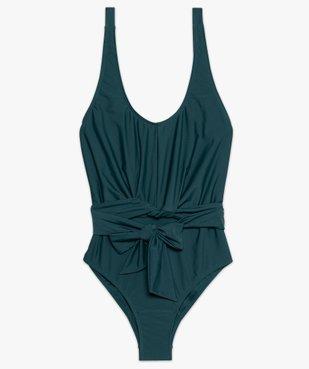Maillot de bain femme une pièce avec ceinture à nouer vue4 - GEMO (PLAGE) - GEMO