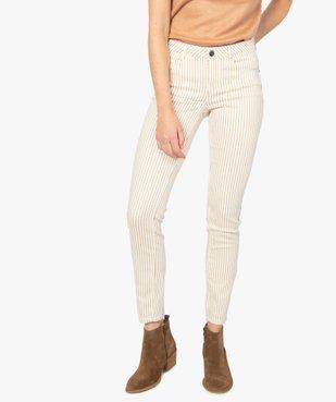 Pantalon femme coupe slim à rayures vue1 - GEMO(FEMME PAP) - GEMO