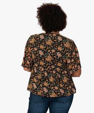 Blouse femme à manches courtes et motifs fleuris vue3 - GEMO (G TAILLE) - GEMO