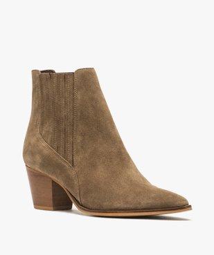 Boots femme à talon dessus cuir uni style santiag vue2 - GEMO(URBAIN) - GEMO