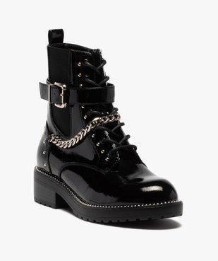 Boots femme vernis à détails métallisés style rock vue2 - GEMO (CASUAL) - GEMO