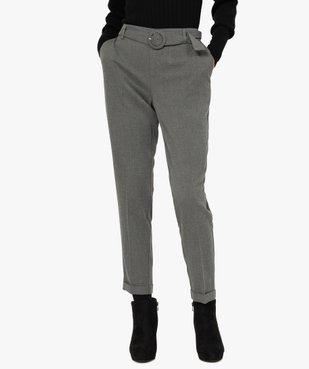 Pantalon femme chiné à ceinture et revers vue1 - GEMO(FEMME PAP) - GEMO