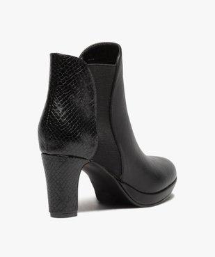 Boots femme à talon unies détails imitation serpent vue4 - GEMO(URBAIN) - GEMO