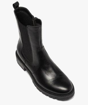 Boots femme unis style chelsea à semelle crantée vue5 - GEMO (CASUAL) - GEMO