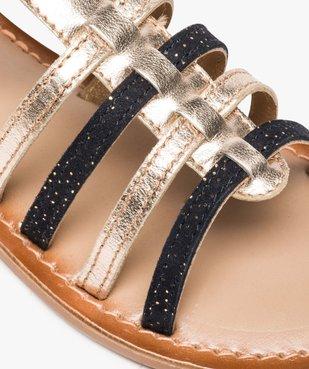 Sandales fille style tropéziennes en cuir métallisé vue6 - GEMO (ENFANT) - GEMO