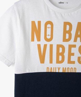 Tee-shirt garçon à manches courtes avec message vue3 - GEMO (ENFANT) - GEMO