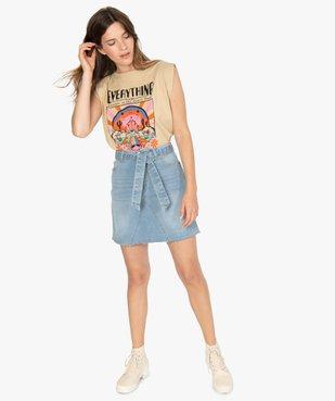 Jupe en jean femme courte avec ceinture à nouer vue5 - GEMO(FEMME PAP) - GEMO