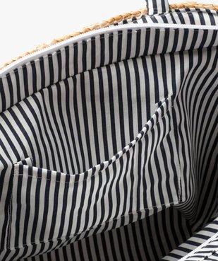 Panier femme en osier avec noeud en toile rayée vue3 - GEMO (ACCESS) - GEMO