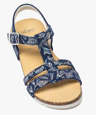 Sandales fille en cuir à détails métallisés fermeture boucle vue5 - GEMO (ENFANT) - GEMO