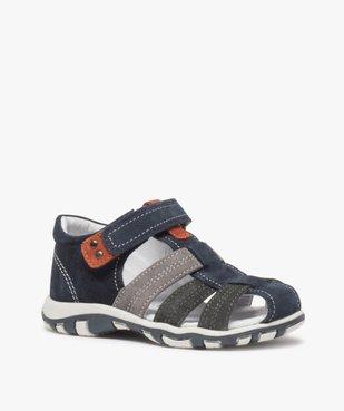 Sandales garçon en cuir bout fermé et fermeture scratch vue2 - Nikesneakers (ENFANT) - Nikesneakers