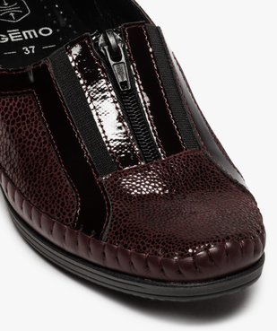 Mocassins femme confort en cuir à talon compensé vue6 - GEMO (CONFORT) - GEMO