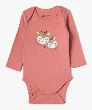 Body bébé fille manches longues avec motif biche (lot de 3) vue2 - GEMO(BB COUCHE) - GEMO