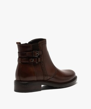 Boots femme unis à talon plat dessus cuir à bords ajourés vue4 - GEMO (CASUAL) - GEMO