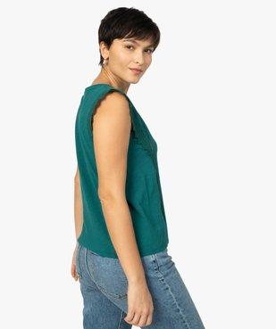 Tee-shirt femme à col V dentelle et crochet vue3 - GEMO(FEMME PAP) - GEMO