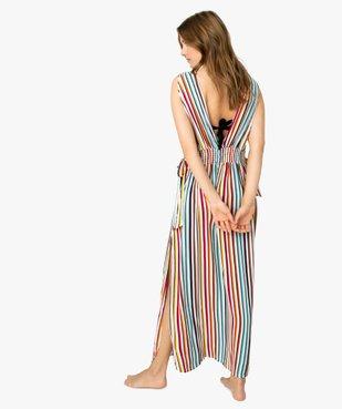 Robe femme longue spécial plage avec décolleté en V vue3 - GEMO (PLAGE) - GEMO