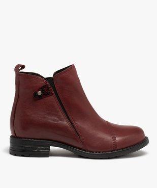 Boots femme à talon plat dessus en cuir uni vue1 - GEMO (CASUAL) - GEMO