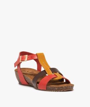 Sandales femme à brides en cuir colorées et talon compensé vue2 - GEMO (CASUAL) - GEMO