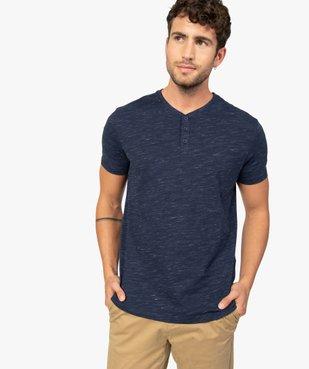 Tee-shirt homme col tunisien 100% coton biologique vue2 - GEMO C4G HOMME - GEMO