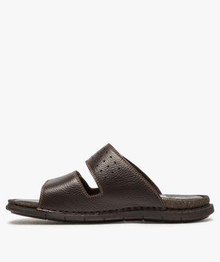 Sandales homme mules dessus et intérieur cuir vue3 - ZEN AIR - GEMO