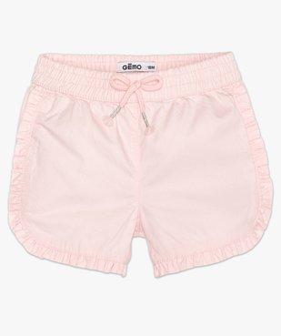 Short bébé fille en coton avec finitions froncées vue1 - GEMO(BEBE DEBT) - GEMO