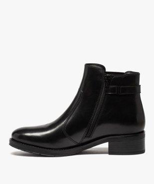 Boots femme à talon plat unis dessus cuir et bride fantaisie vue3 - GEMO (CASUAL) - GEMO