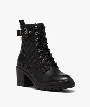 Boots femme à talon carré dessus en matière matelassée vue2 - GEMO(URBAIN) - GEMO