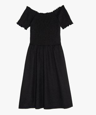 Robe fille en maille gaufrée et buste à smocks vue3 - GEMO (JUNIOR) - GEMO