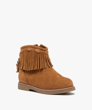 Boots fille en suédine unie avec col à franges vue2 - GEMO (ENFANT) - GEMO