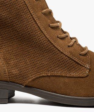 Boots femme à talon plat dessus cuir style godillots vue6 - GEMO (CASUAL) - GEMO