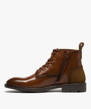 Boots homme unis à lacets et zip avec couture débordante vue3 - GEMO (CASUAL) - GEMO