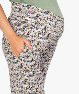 Pantalon de grossesse ample à fleurs et smocks à la taille vue2 - GEMO (MATER) - GEMO