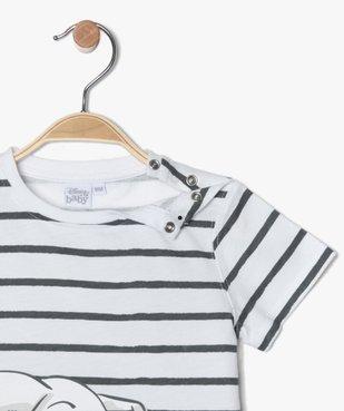 Tee-shirt bébé garçon à rayures et motif - Disney vue2 - DISNEY DTR - GEMO