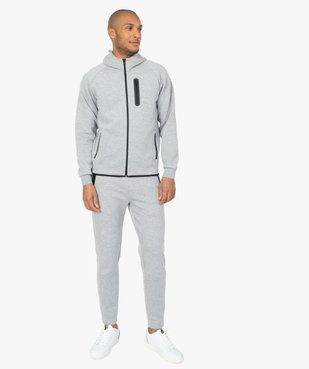 Sweat homme zippé à capuche et poches zippées vue6 - GEMO (HOMME) - GEMO