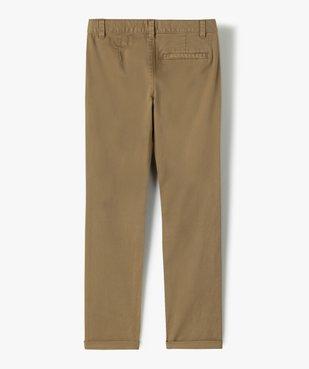 Pantalon garçon chino uni à revers vue3 - GEMO (JUNIOR) - GEMO