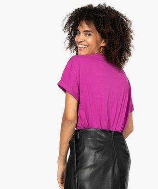 Tee-shirt femme à manches courtes et strass vue3 - GEMO(FEMME PAP) - GEMO