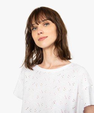 Tee-shirt femme à manches courtes façon dentelle anglaise vue2 - GEMO(FEMME PAP) - GEMO
