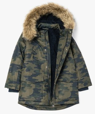 Parka garçon déperlante et multipoche à doublure chaude imprimé camouflage vue2 - Nikesneakers (ENFANT) - Nikesneakers