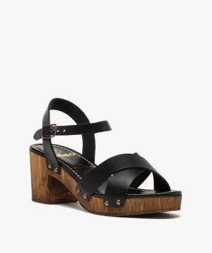 Sandales femme unies à talon imitation bois vue2 - GEMO(URBAIN) - GEMO
