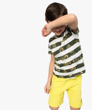Tee-shirt garçon à rayures et motifs exotiques vue1 - GEMO (ENFANT) - GEMO