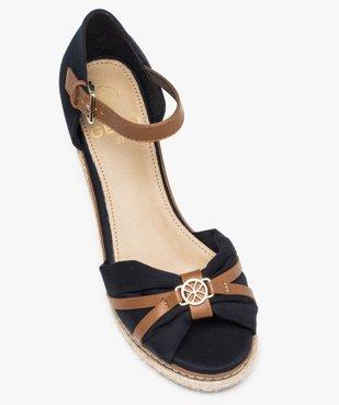 Sandales femme à talon compensé et dessus toile drapée vue5 - GEMO(URBAIN) - GEMO