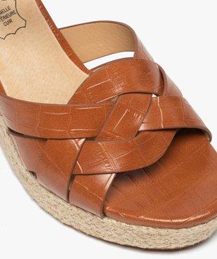 Sandales femme à talon compensé dessus imitation croco vue6 - GEMO(URBAIN) - GEMO