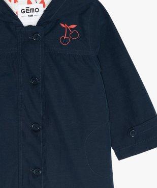 Manteau bébé fille zippé, fin, à capuche et doublure imprimée vue2 - GEMO(BEBE DEBT) - GEMO