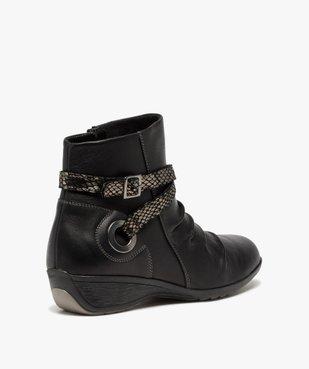 Boots femme confort à talon compensé dessus drapé vue4 - GEMO (CASUAL) - GEMO