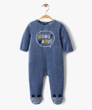 Pyjama bébé garçon en velours avec inscription brodée  vue1 - GEMO(BB COUCHE) - GEMO