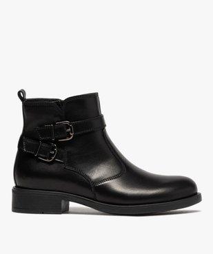 Boots fille unis dessus cuir à fermeture zippée vue1 - GEMO (ENFANT) - GEMO