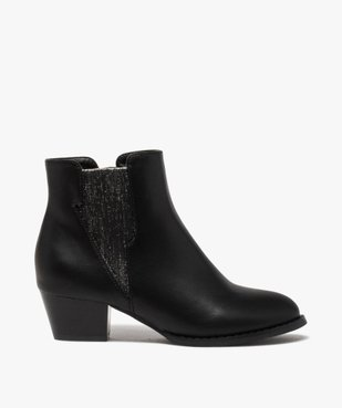 Boots fille unies à talon et élastique pailleté rock vue1 - GEMO (ENFANT) - GEMO
